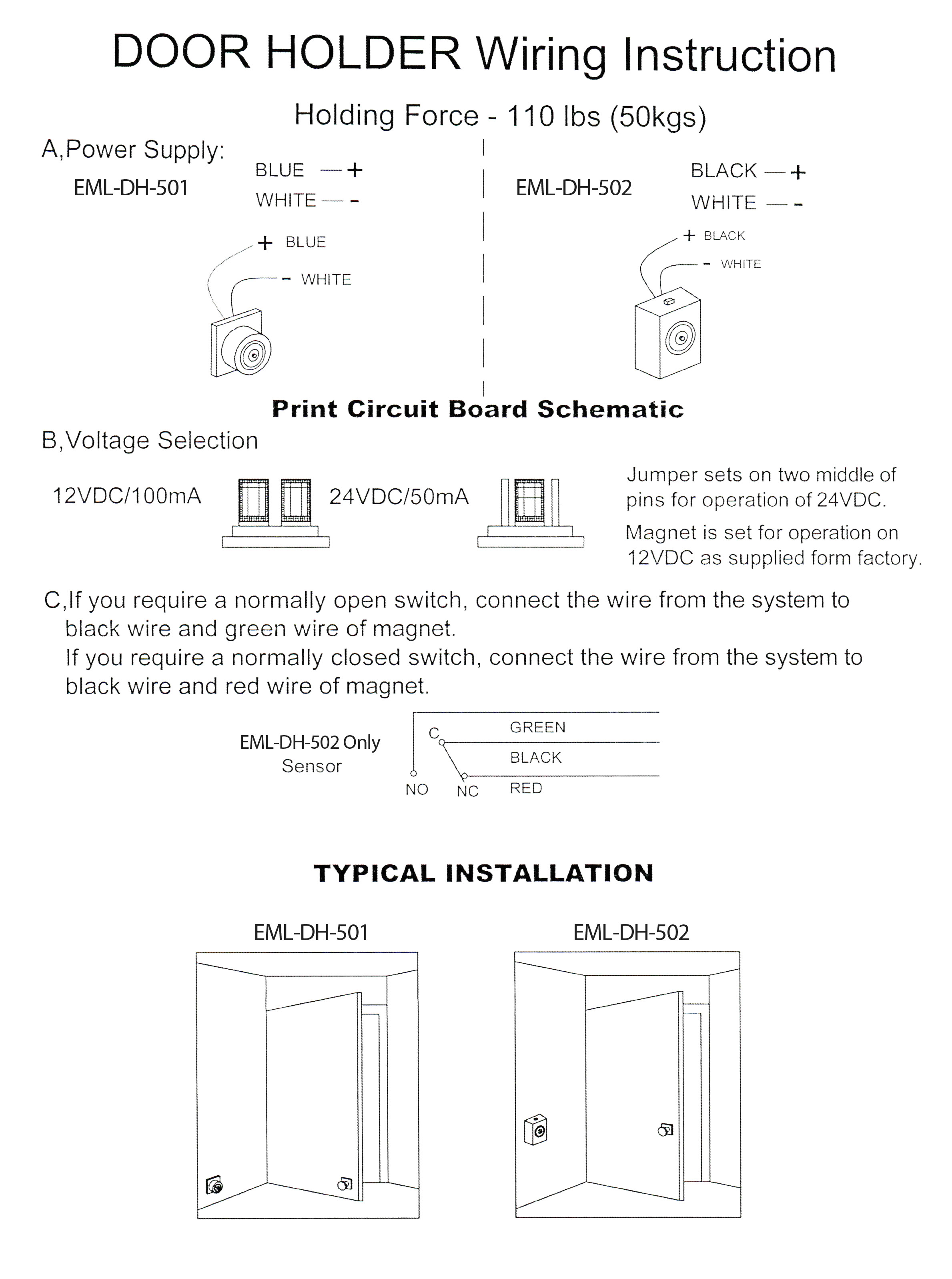 EML DH Diagram electromagnetic magnetic door holder with switch 100x70x40mm magnetic door holder wiring diagram at readyjetset.co