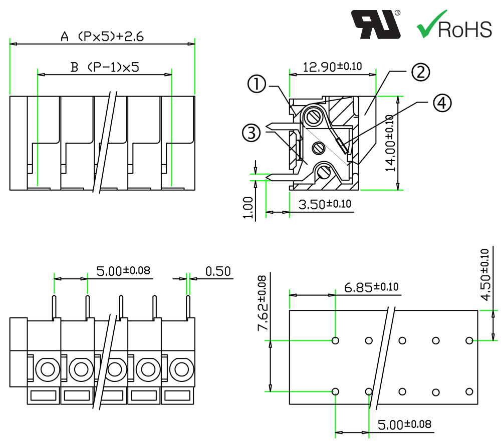 barrier type terminal block  pitch  5mm  pin  1