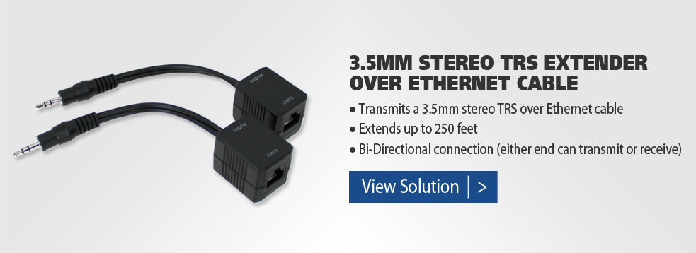 3.5mm Stereo TRS Extender Over Ethernet Cable