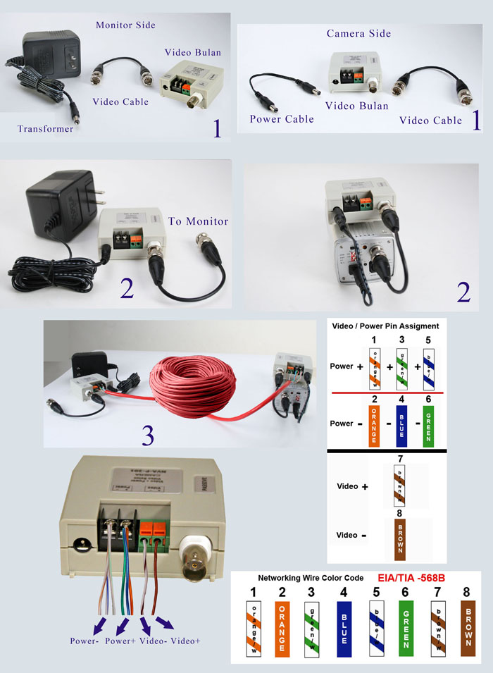 Passive Video Balun  Terminal Type  For Ccd Cameras  Power