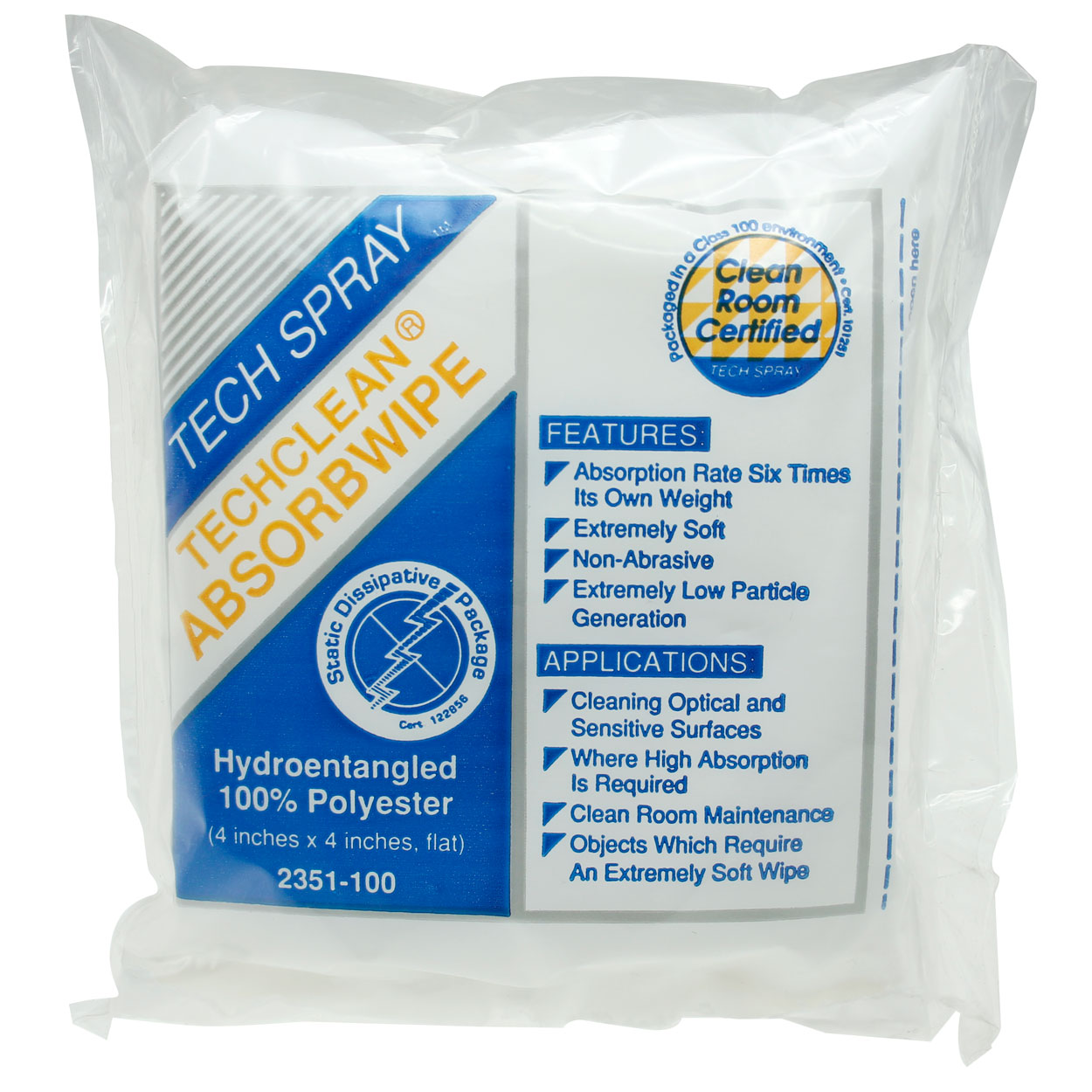 Techclean Absorb Wipe 100pcs, 4x4
