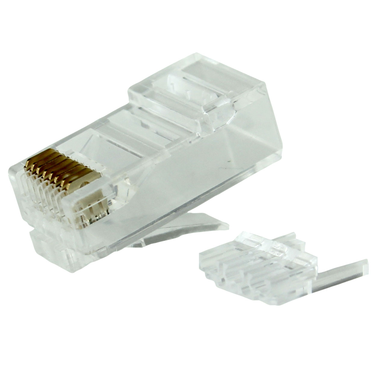 RJ45 Cat6 / Cat6a Long Body Modular Plug (2pcs Type) For AWG 24 - 26 Round Solid / Stranded Cable - 50pcs/pack