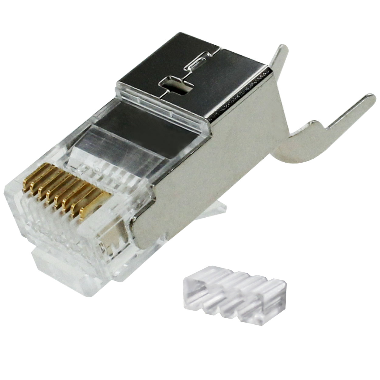 RJ45 Cat6a Shielded Modular Plug (2pcs Type) for Stranded / Solid Wire Cable 23-24AWG, Insulation Diameter OD: 1.5mm - 50pcs/pack