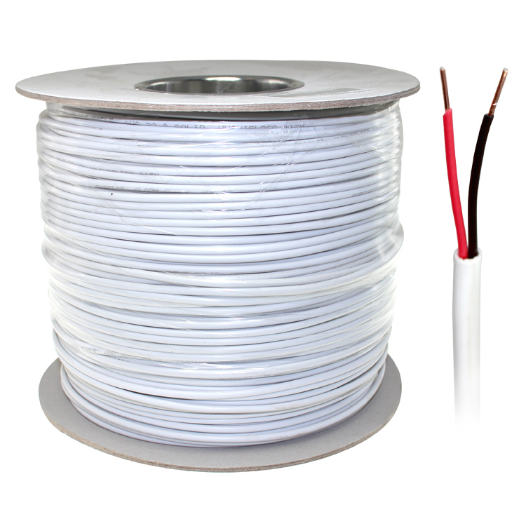 1000ft 22AWG 2 Wire Security Alarm Cable, CCA, Unshielded Solid - PI ...