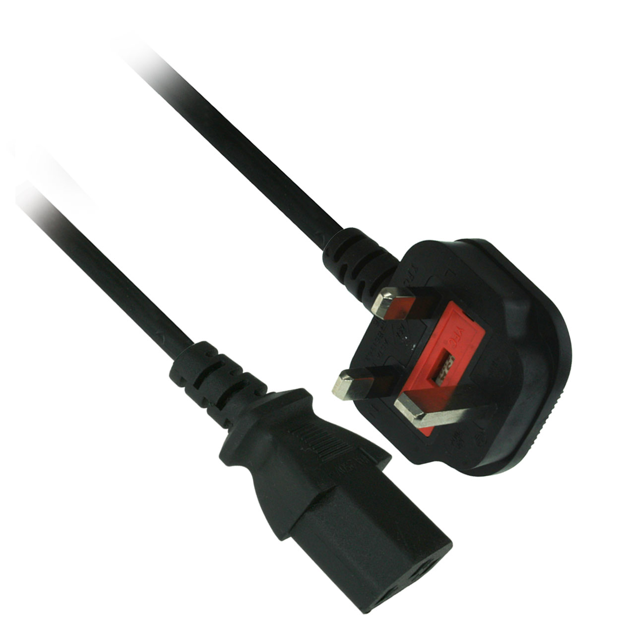 6ft 18AWG AC Power Cord Fused, UK Britain England (BS1363 to IEC 60320 C13) - Black