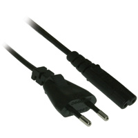 6ft 18AWG AC Power Cord, Europe (CEE 7/16 to IEC 60320 C8) - Black