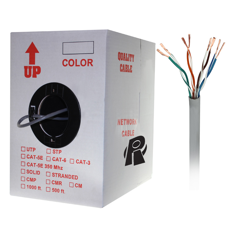 1000ft Bare Copper Cat5e Bulk Cable, 350MHz, Stranded Wire - Gray