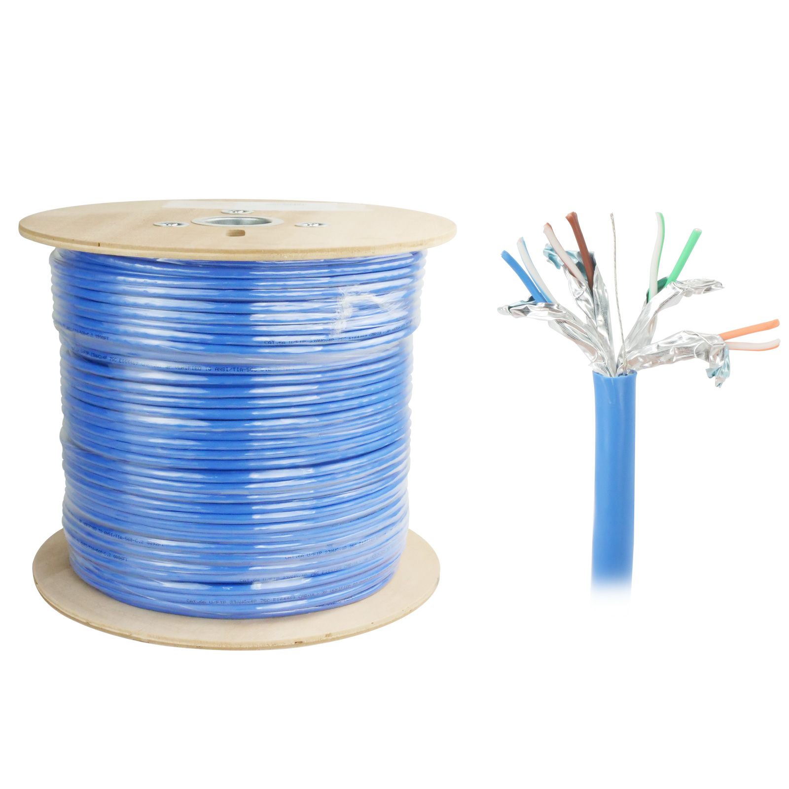 1000ft Cat6a Bare Copper 23AWG CMR U/FTP Shielded Bulk Cable, 7.1mm OD, Solid Wire - Blue