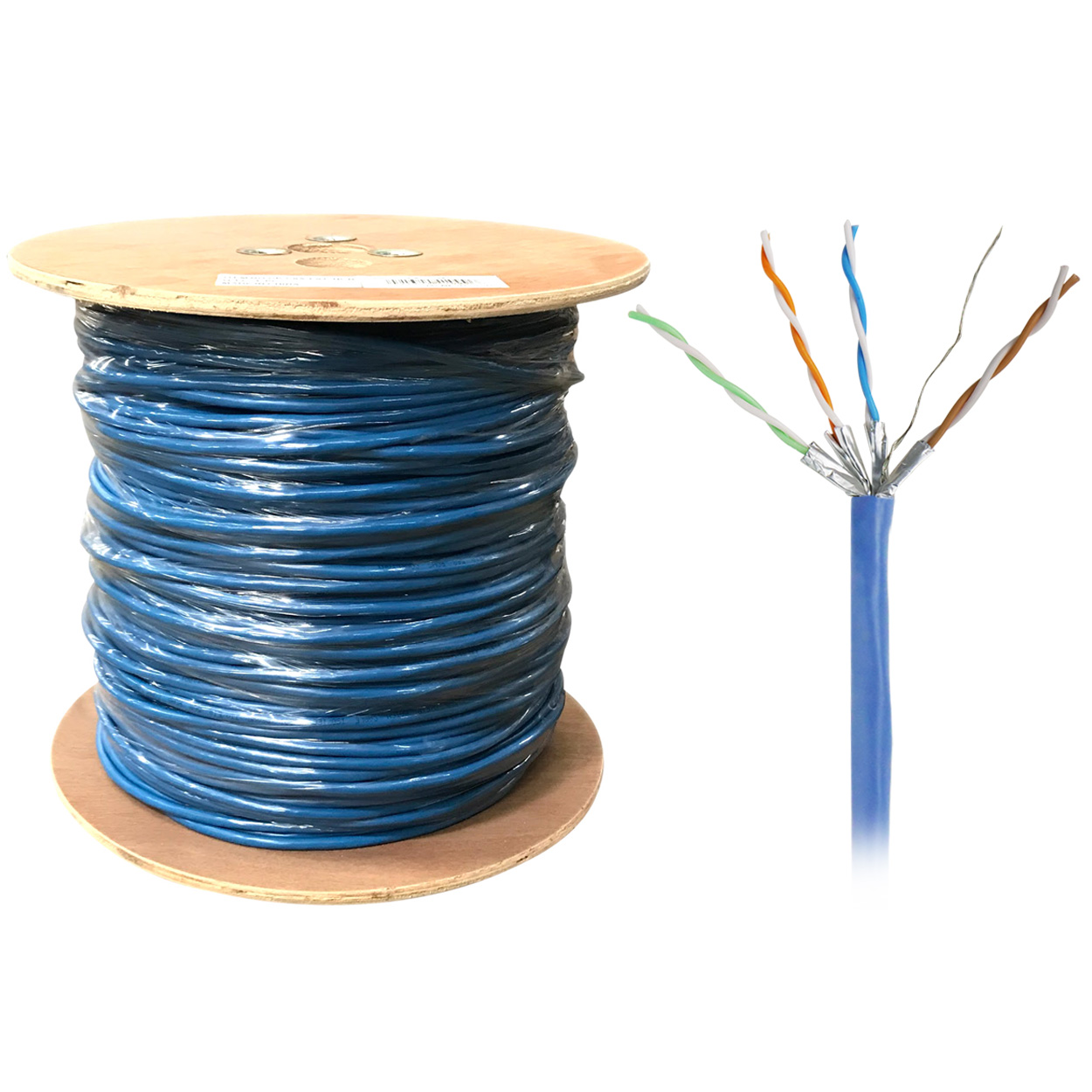 1000ft Bulk U/FTP Cat6a Cable, Stranded Wire, 26AWG - Blue - PI ...