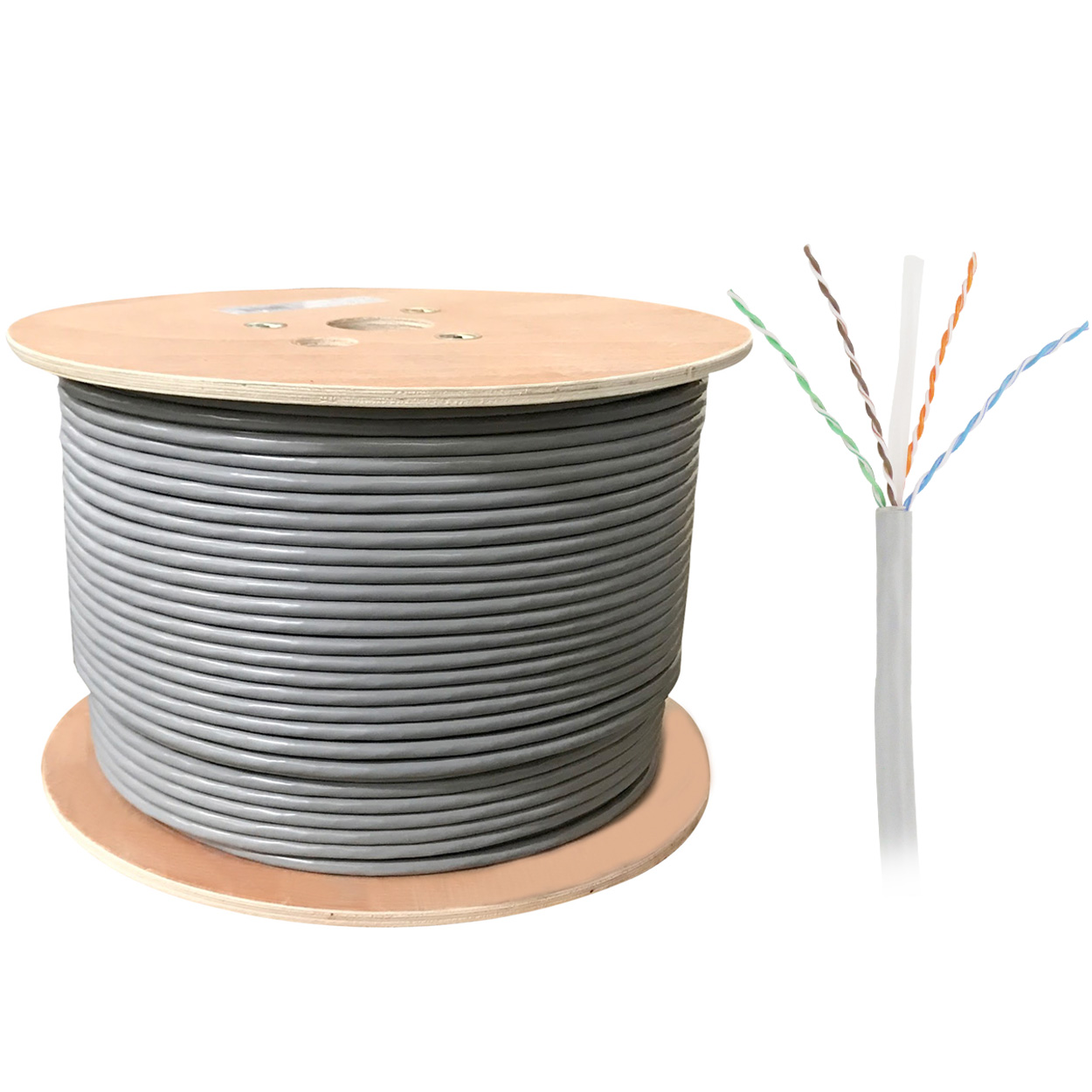 1000ft Bulk UTP Cat6a Cable, 23AWG CM Rated Solid Wire, 10Gb - Gray