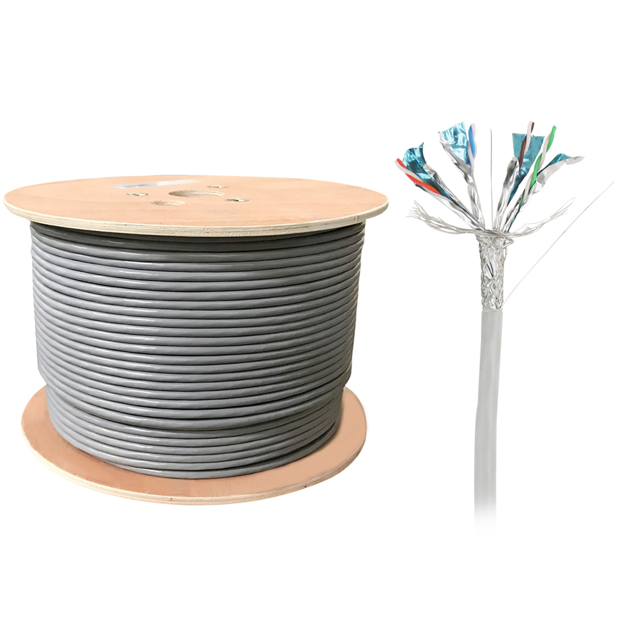 1000ft Bulk S/FTP Cat6a Cable, Solid Wire, 23AWG - Gray - PI ...