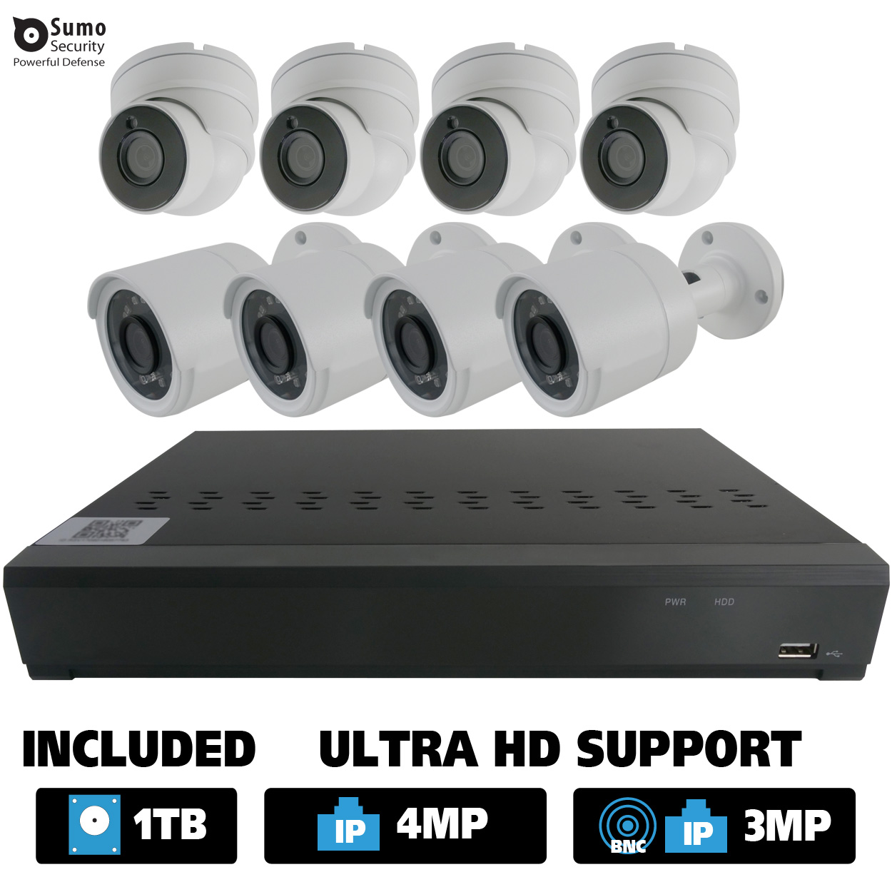12 Channel Hybrid DVR System with 8 x 2.1MP HD Dome / Bullet Cameras (1TB HDD Included)