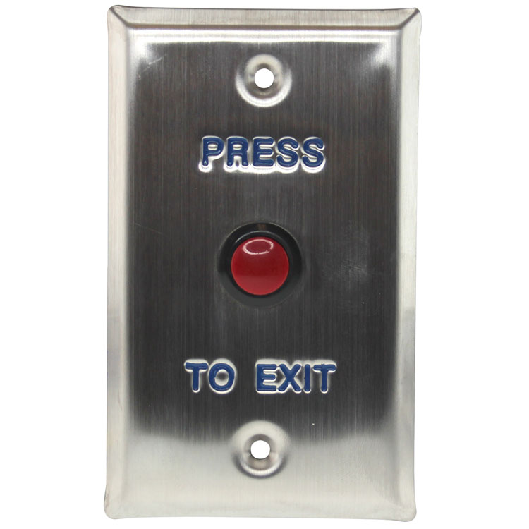 Push-to-Exit Button Wall Plate, Rectangle, Stainless Steel with Red Button (Normal Open)