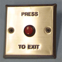 Push-to-Exit Button Wall Plate, Square, Stainless Steel with Red Button