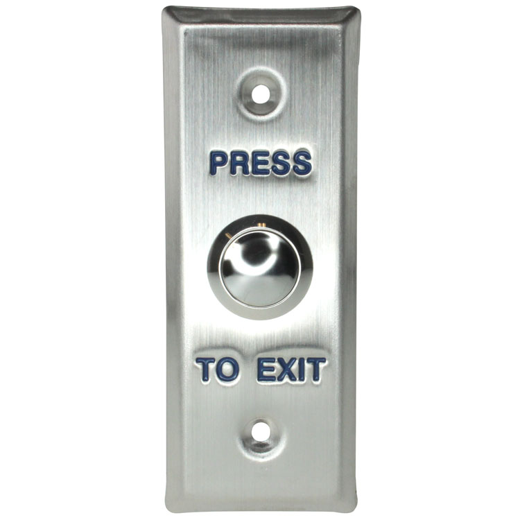 Push-to-Exit Button Wall Plate, Narrow Rectangle, Stainless Steel with Metal Button  (Normal Open)