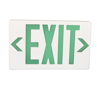 Plastic LED Exit Sign with Backup Battery, Green