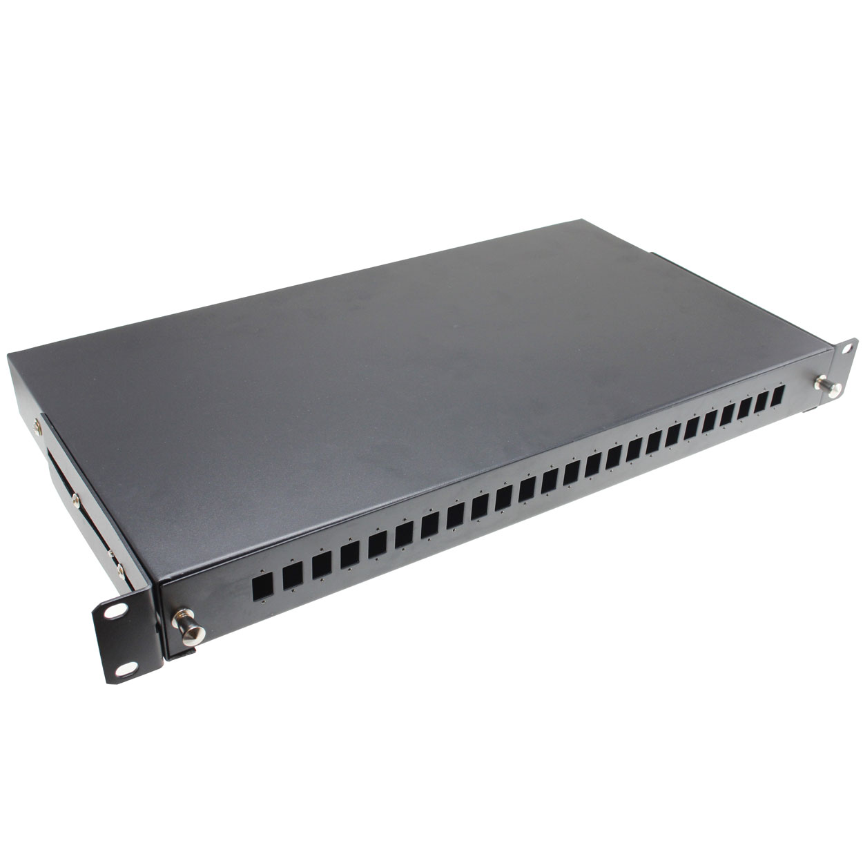19 inch Rackmount Fiber Distribution Box with Rails for 24 Ports SC or Dual LC  ( For 2 LC (or 1 SC ) * 24 , 48 LC Cable)
