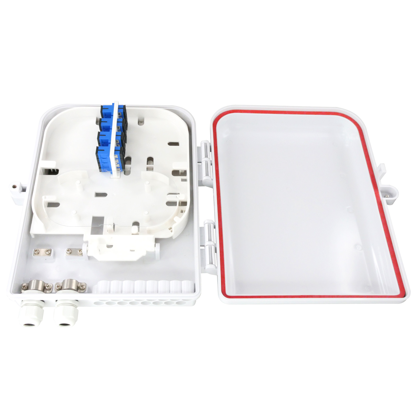 16 Port UV and Weather Resistant FTTH Fiber Termination Box, Wall Mount or Pole Mount