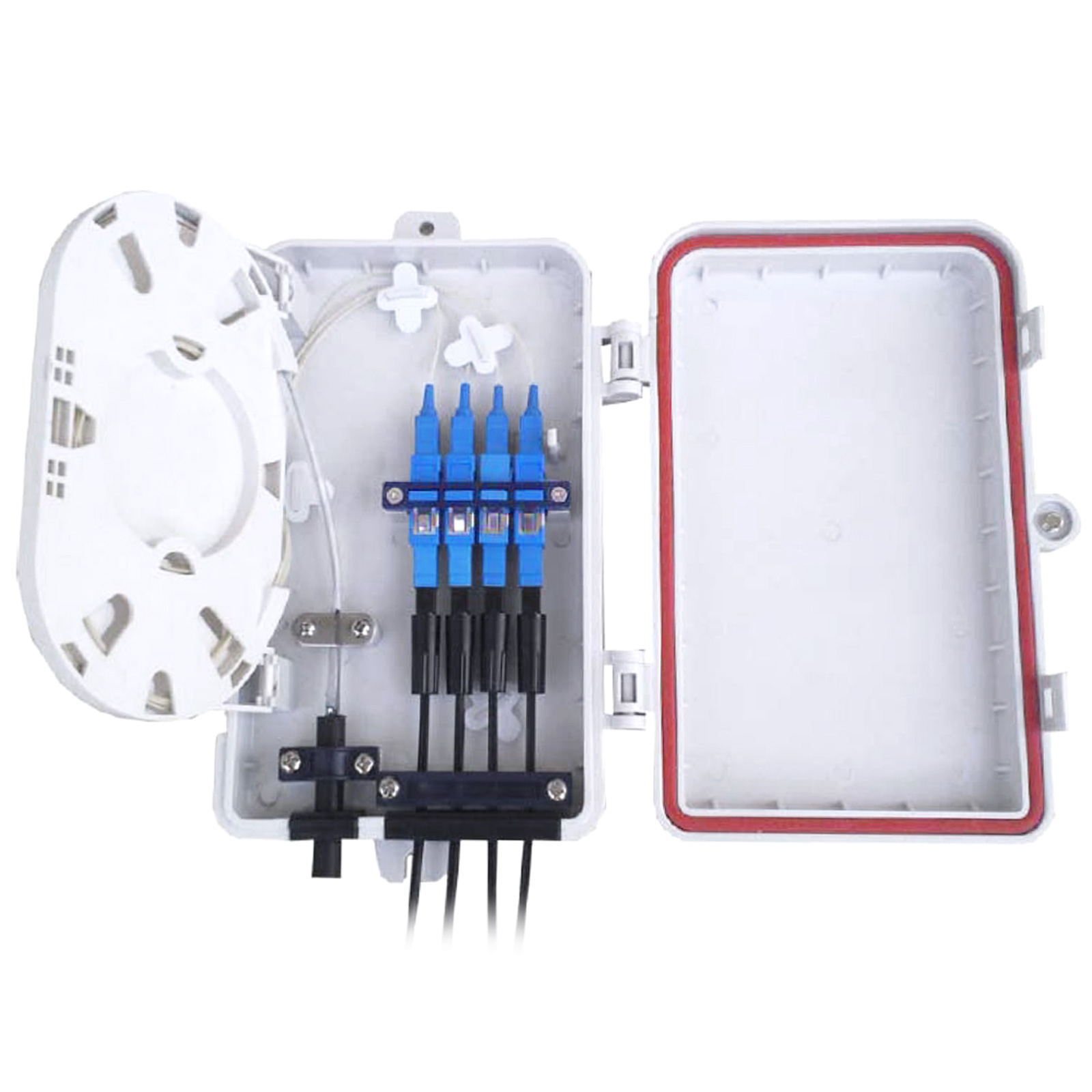 4 Port UV and Weather Resistant FTTH Fiber Termination Box, Wall Mount or Rackmount (Unloaded)