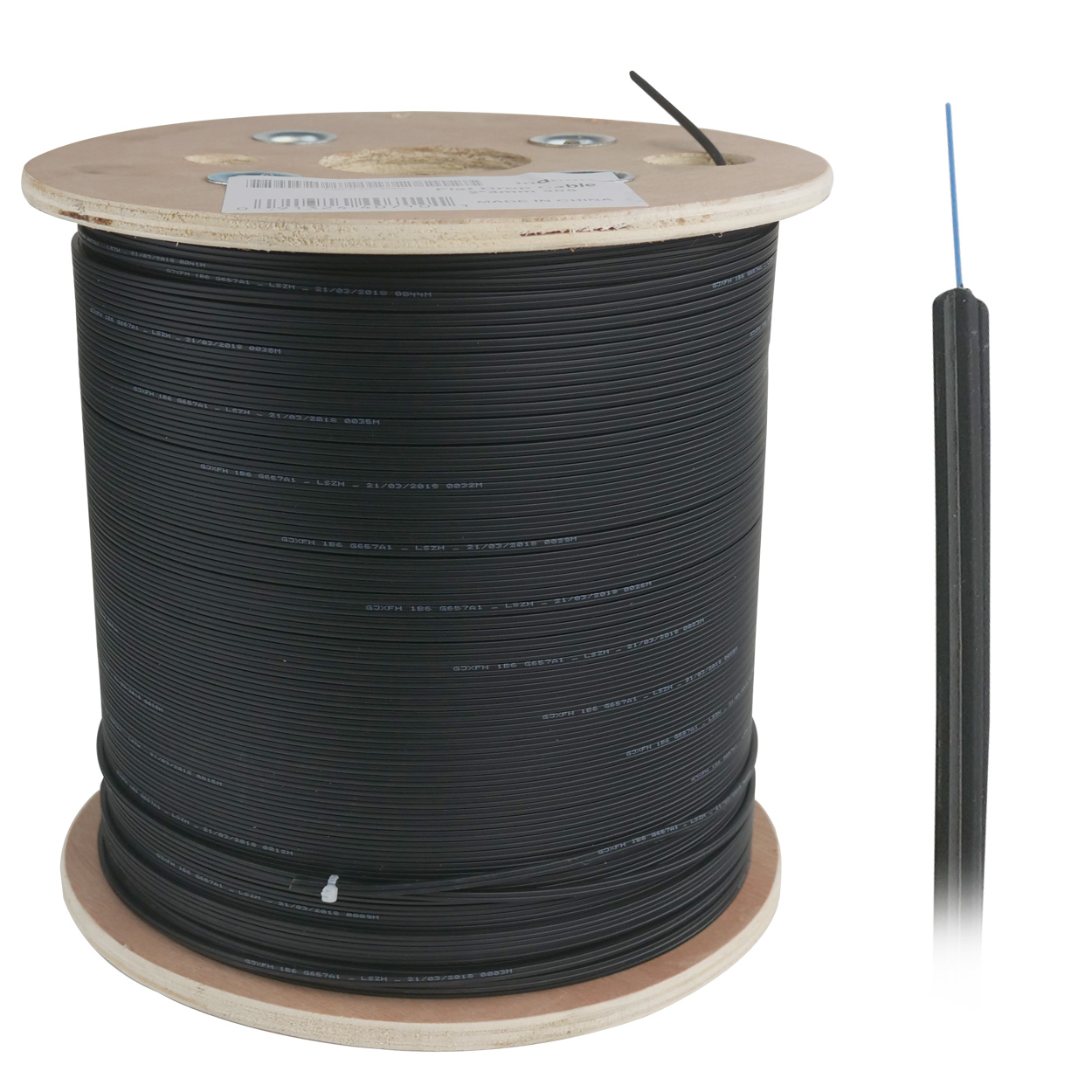 Leapmicro indoor Fiber Drop Cable, LSZH 1 Fiber 9/125 Single-mode - 305 Meter (1000ft)