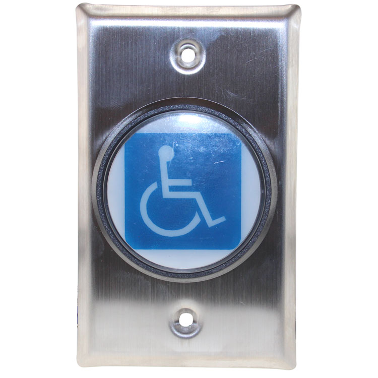 Push-to-Exit Button Wall Plate, Stainless Steel with Disabled Person Icon