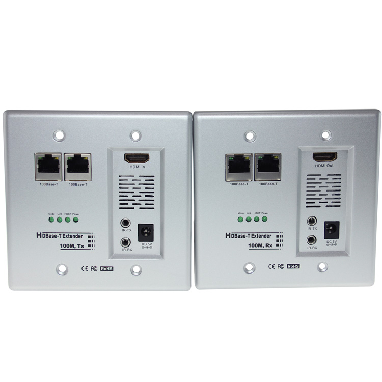 HDBaseT HDMI Wall Plate Extender Over Cat5 / Cat6 with Built-in IR ...