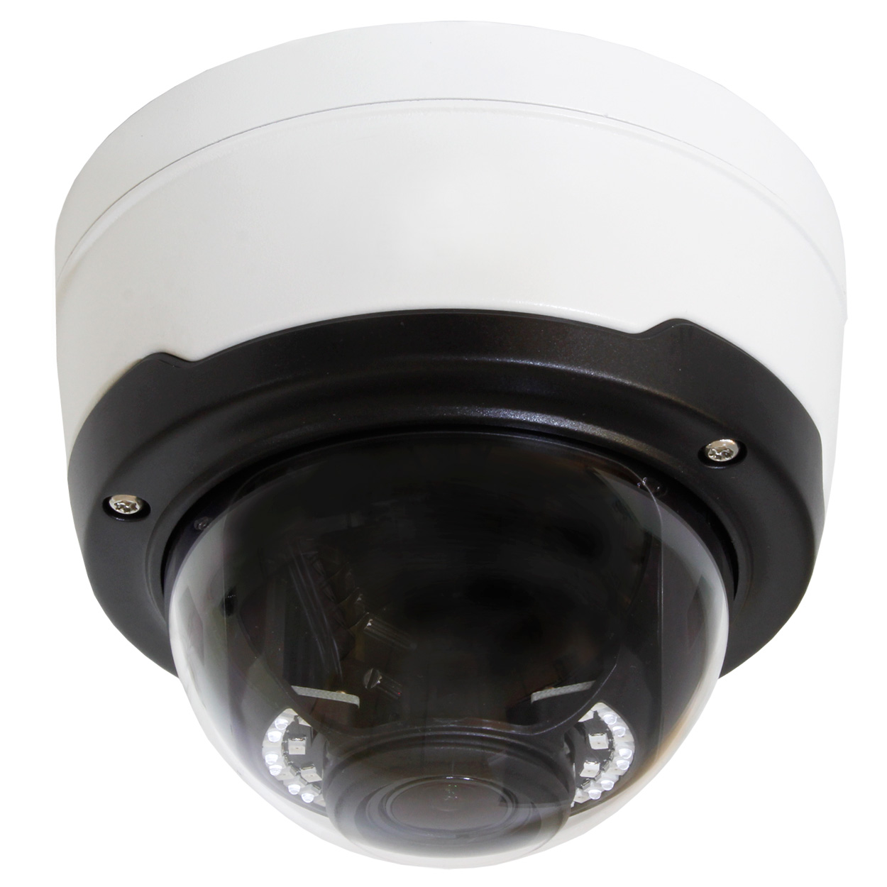 4MP Outdoor Vandal Proof IP Dome Camera, 2.8-12mm Varifocal Lens, H.265, 147ft IR (with PoE, Audio In/Out, Alarm I/O, Reset, and BNC Video Output)