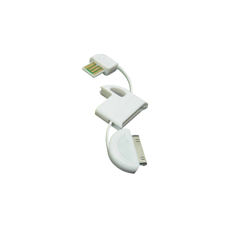 4.8 inch USB Cable Keychain for 30-Pin Apple Devices - White