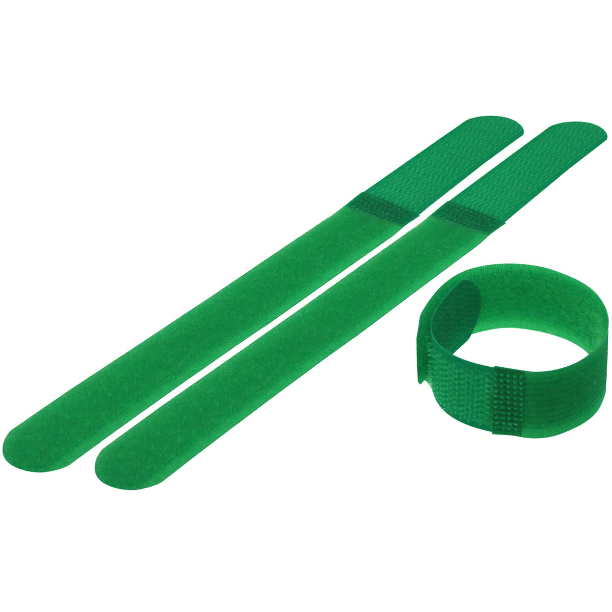 Hook and Loop Cable Tie Roll 7 inch Long x 0.78 inch Wide, 10pcs/pack - Green