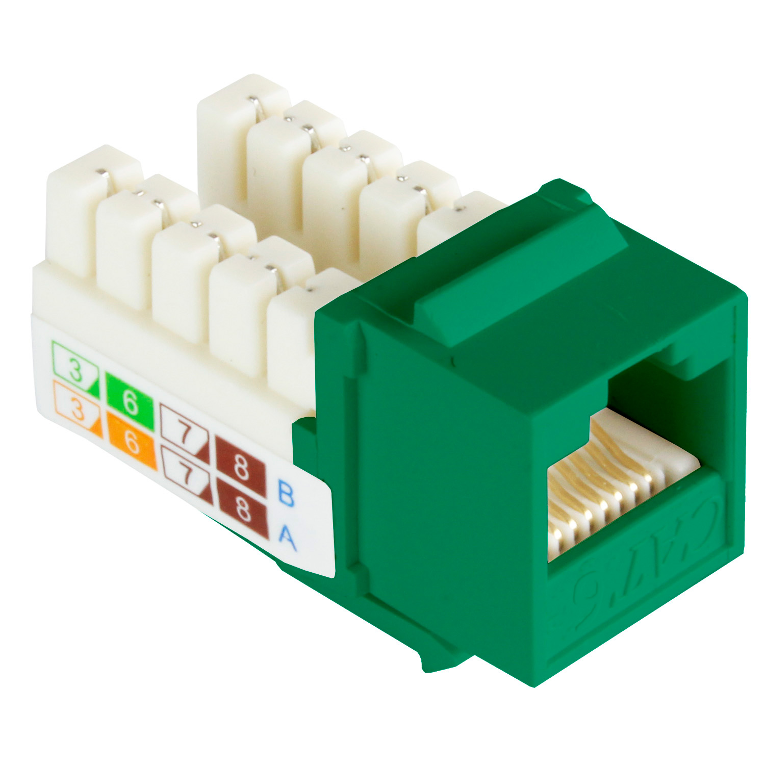 Cat6 Keystone Jack Narrow Type, 110 Punch Down, 90 Degree - Green