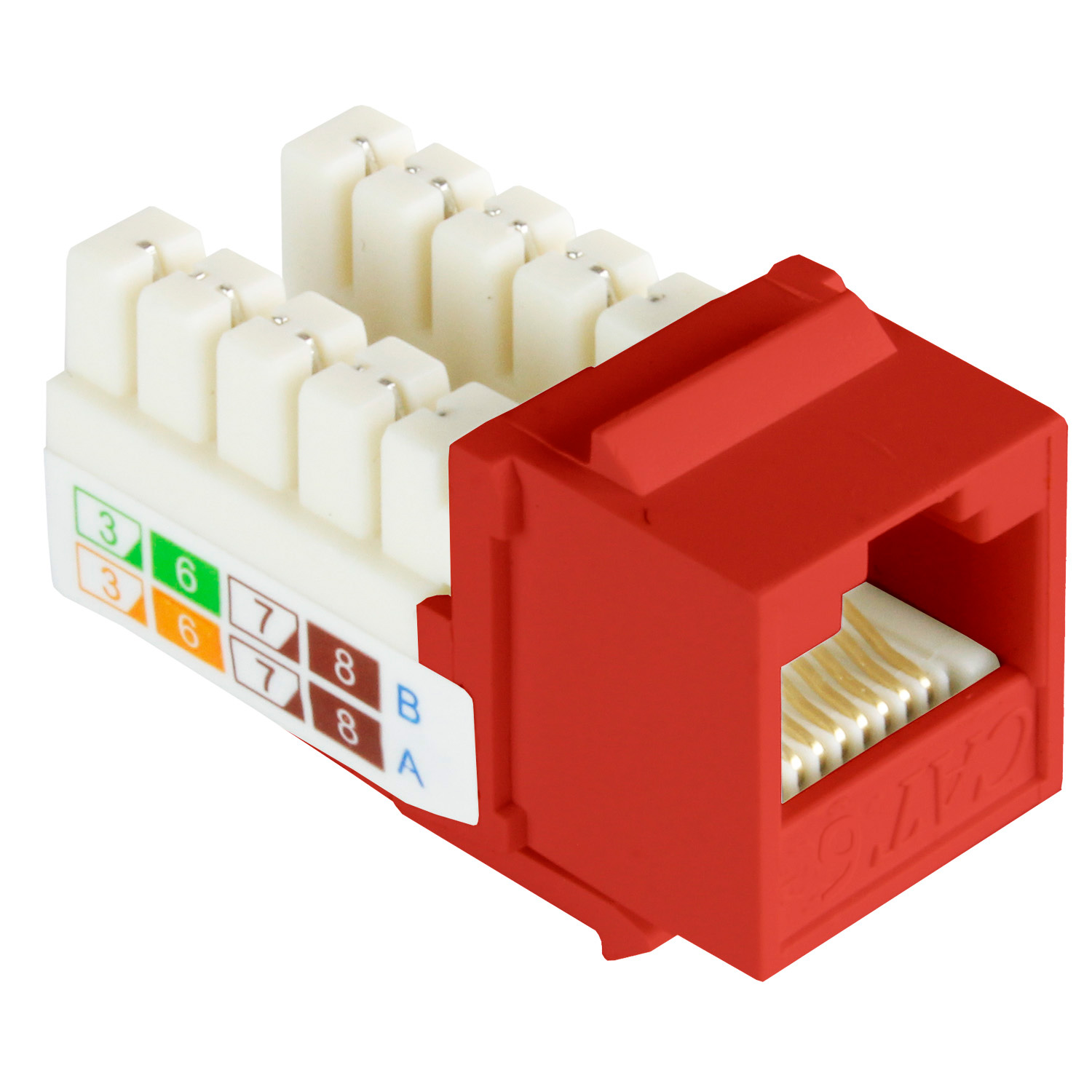 Cat6 Keystone Jack Narrow Type, 110 Punch Down, 90 Degree - Red