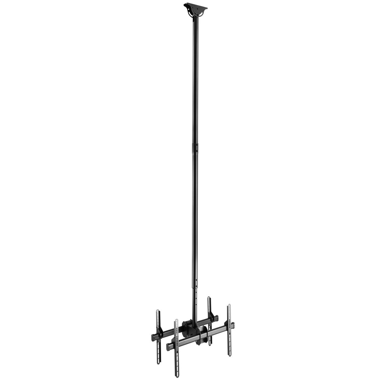 Double Side Ceiling Mount Tv Bracket With Tilt Swivel And Adjule Height For 37 70 Inch Screens Pi Manufacturing