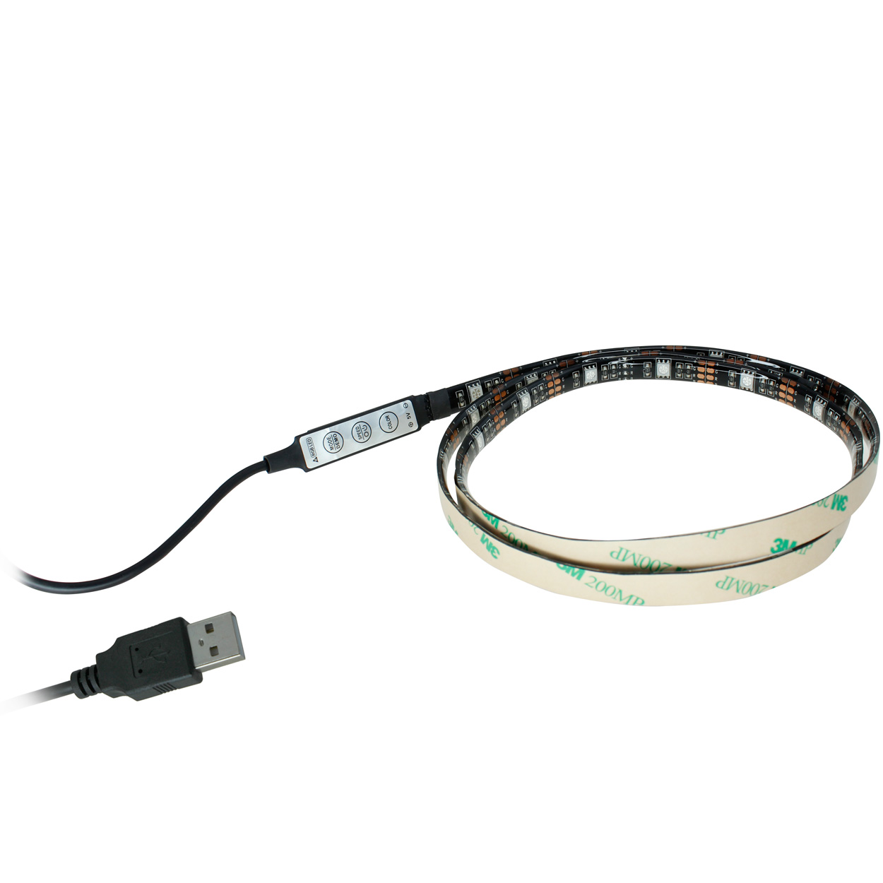 3.3ft RGB LED Light Strip, 30 Units SMD 5050 LEDs with 5V USB Power Cable, Waterproof IP65