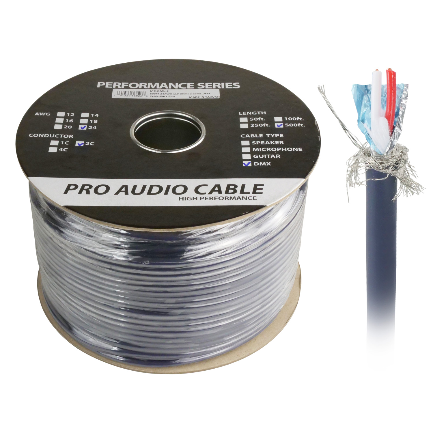 500ft One Pair DMX Digital Lighting Control Cable, Braid Shielding