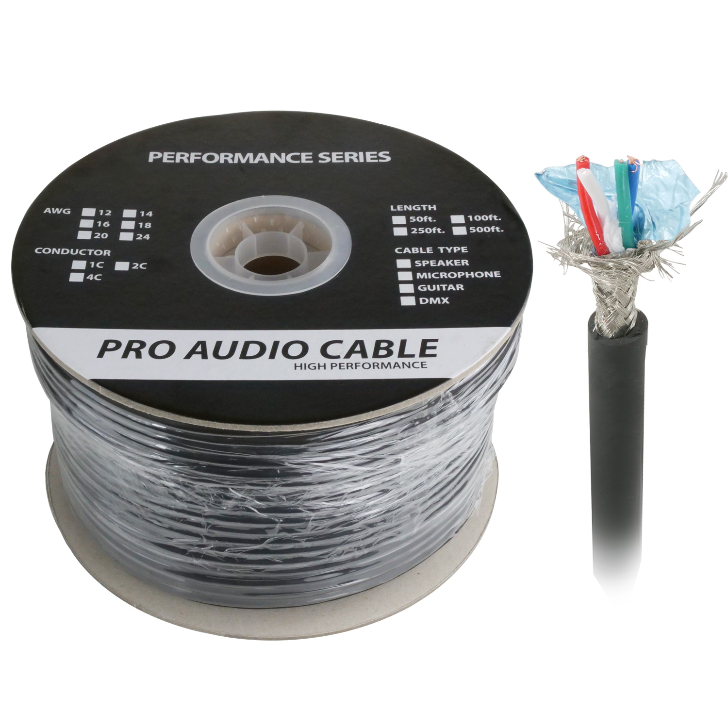 500ft Two Pair DMX Digital Lighting Control Cable, Braid Shielding