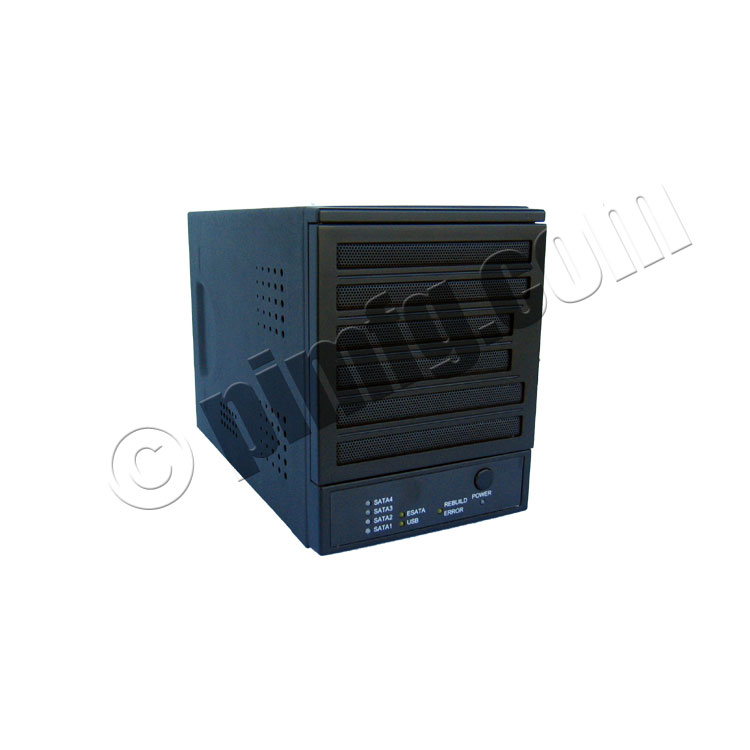 4-Bay eSATA / USB 2.0 Storage Enclosure with Hardware RAID 0/1/3/5/10/JBOD/CLONE and Dual-Port PCIe Controller