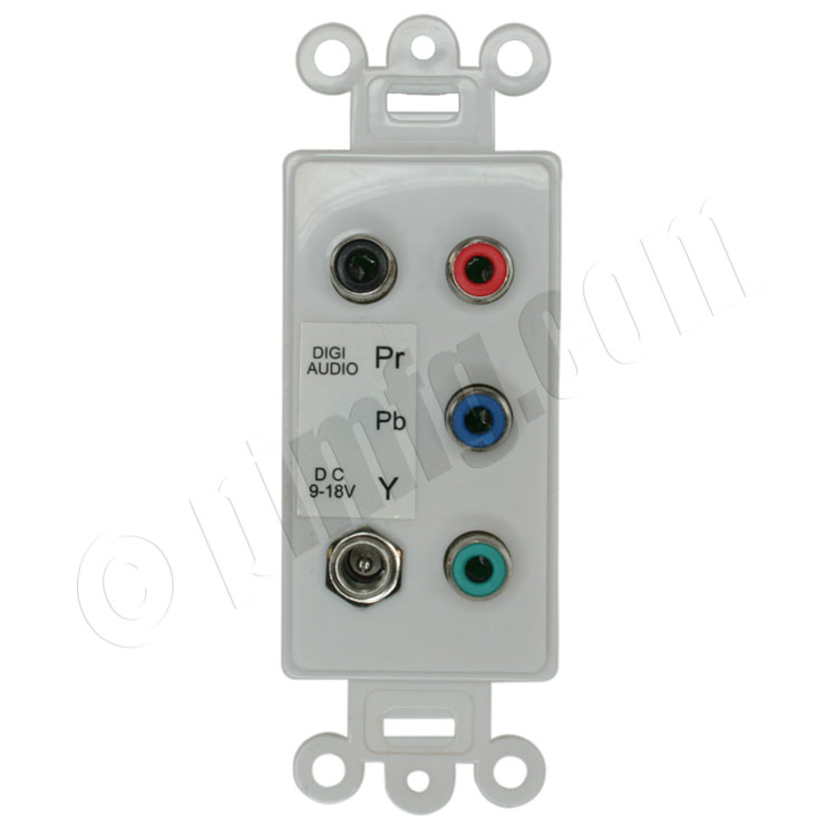 Component Video and Digital Audio Over Cat5 Active Video Balun Wall Plate -  White
