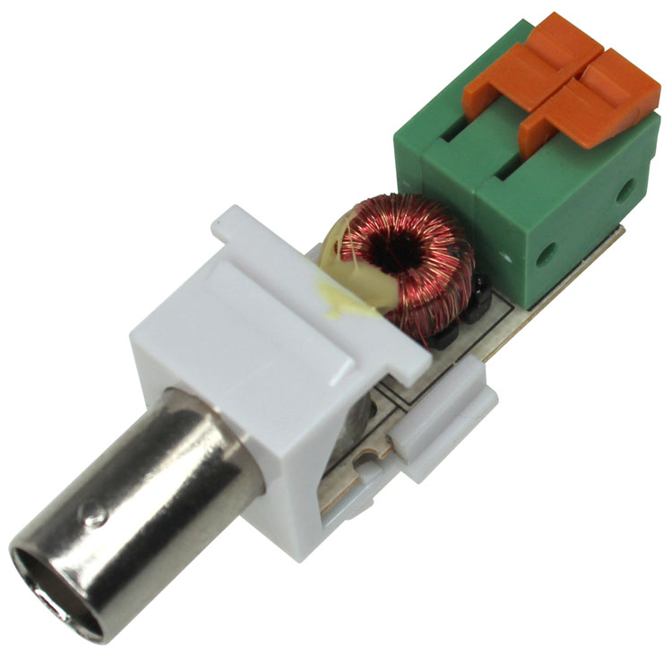 Passive Video Balun Keystone Jack, Female BNC - White