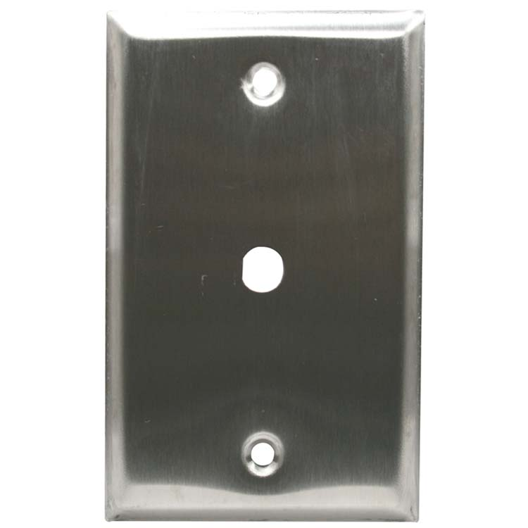 1 Port F and RCA Connector Wall Plate, Stainless Steel