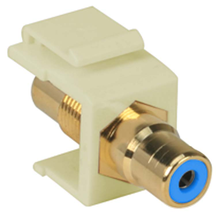 RCA Keystone Jack with Blue Center - Beige