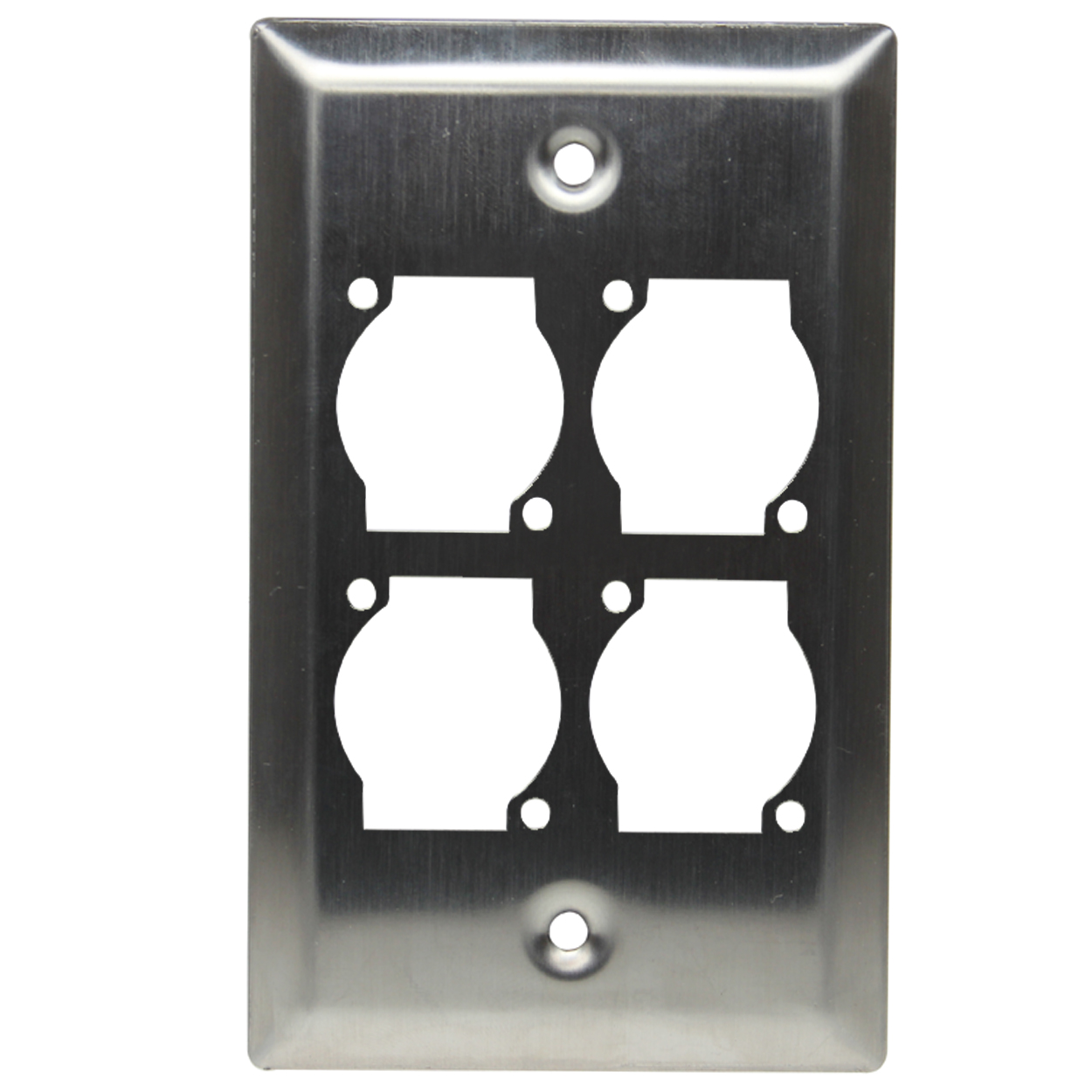Single Gang 4 Opening XLR Wall Plate, Stainless Steel - Universal