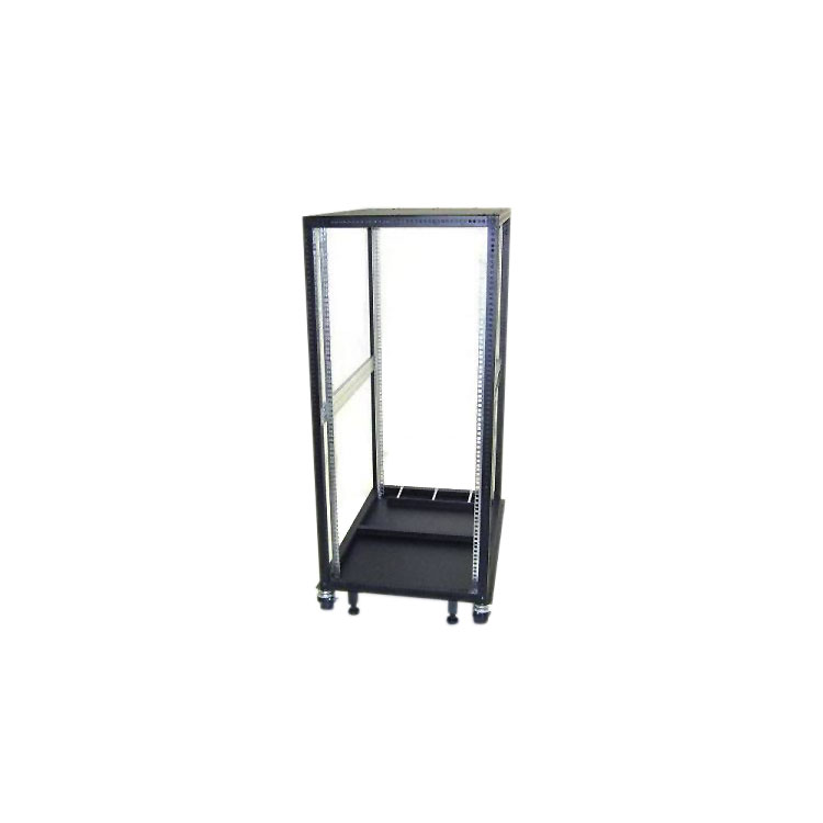 19 inch 4 Post Steel Open Rack 30U, 35.5 inches Deep with Solid Top and Bottom Plate