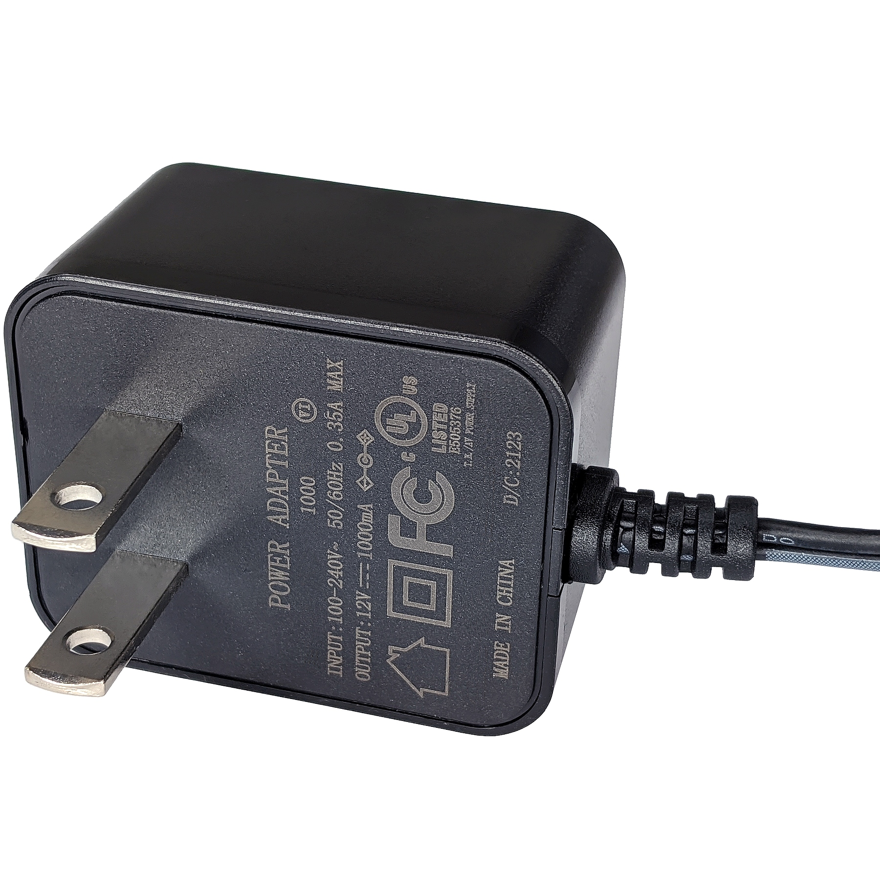 12V DC 1000mA Output Power Adapter (100-240V AC Input, 2.1mm ID / 5.5mm OD)
