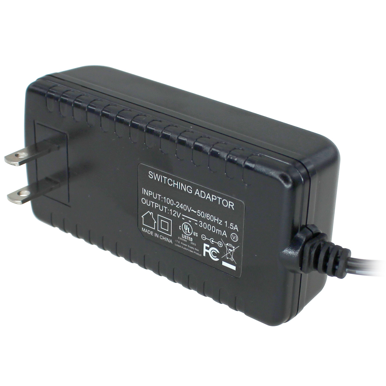 12V DC 3000mA Output Power Adapter (100-240V AC Input, 2.1mm ID / 5.5mm OD)