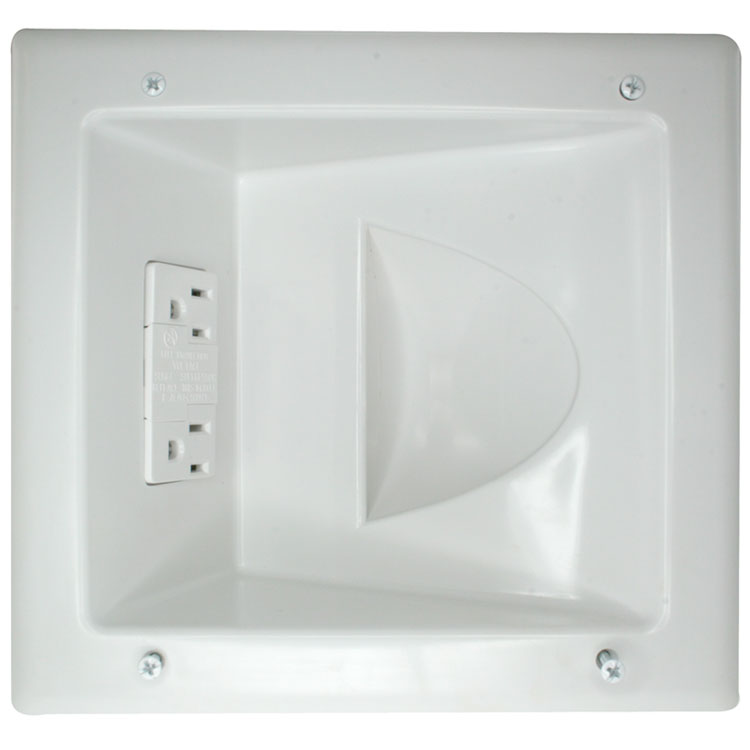 Recessed Low Voltage Media Plate with Duplex Surge Suppressor
