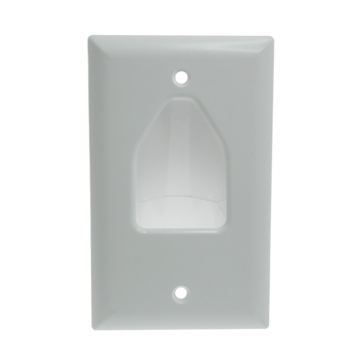 1-Gang Recessed Low Voltage Plate, White