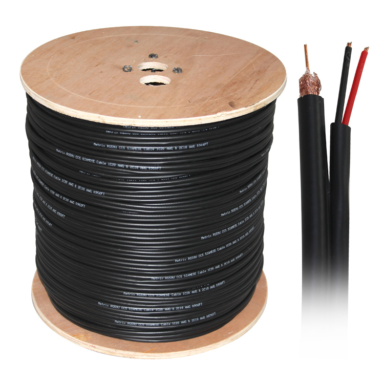 500ft Siamese RG59 Braid Shield Video + Power Siamese Cable - Black (20AWG CCS + 18AWG CCA)