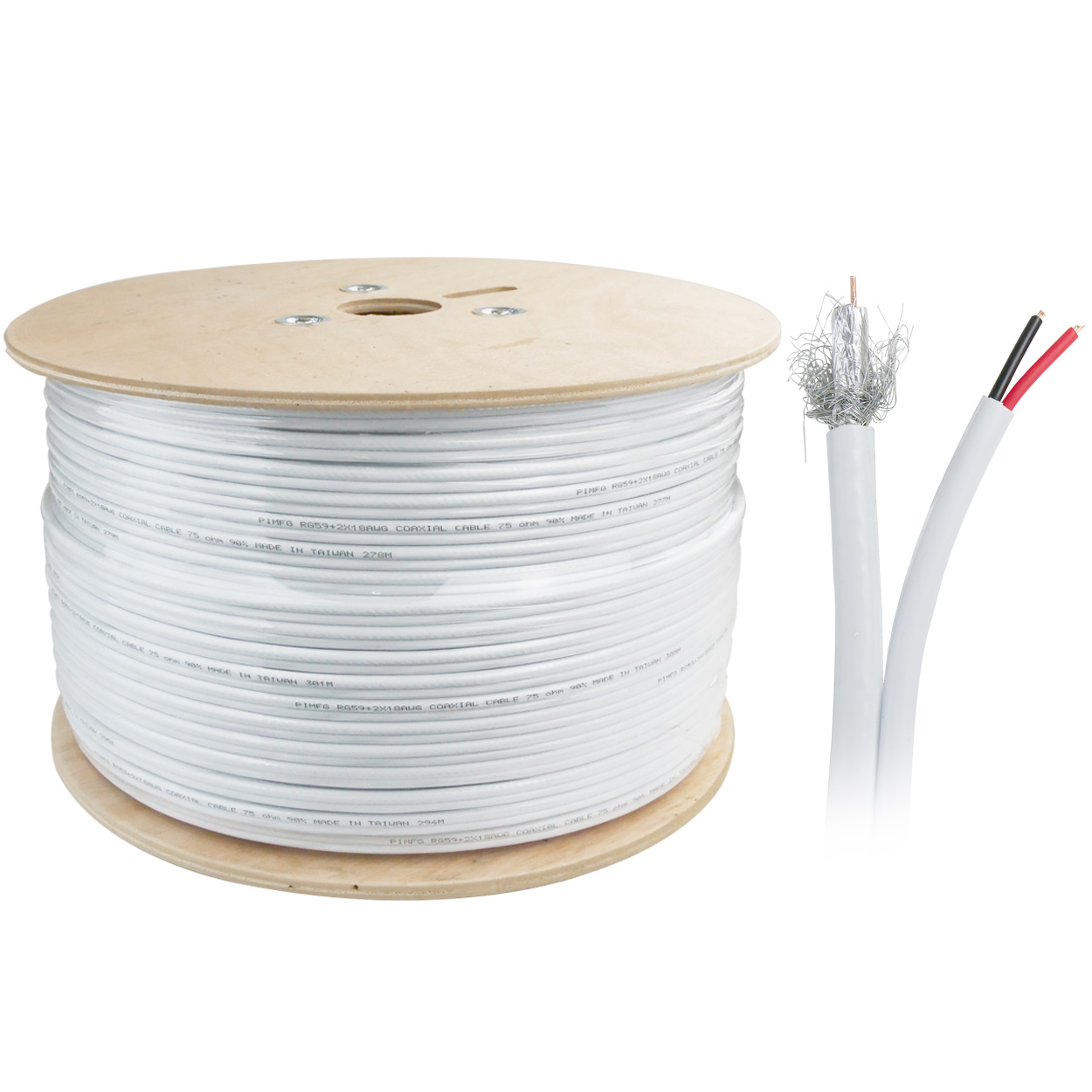 1000ft Bulk RG59 Siamese Coaxial / Power Cable - White, Dual Shielding (Aluminum Foil + ALMG Braid)