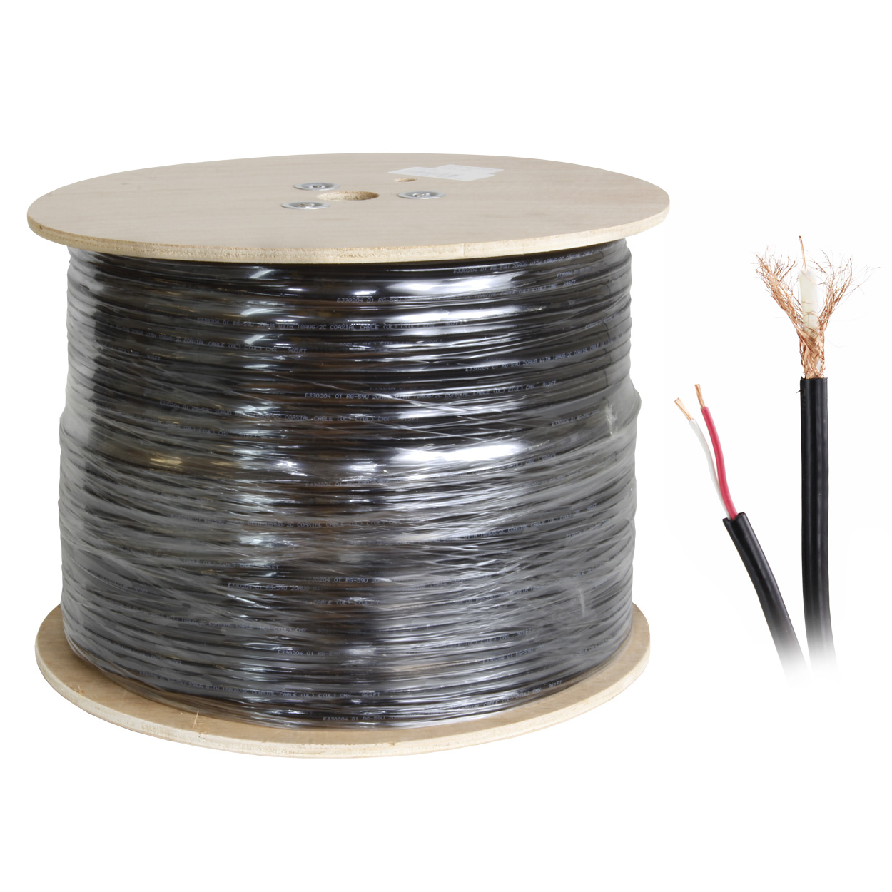 1000ft Siamese RG59 Braid Shield Video + Power Siamese Cable - Black (20AWG Bare Copper + 18AWG CCA)