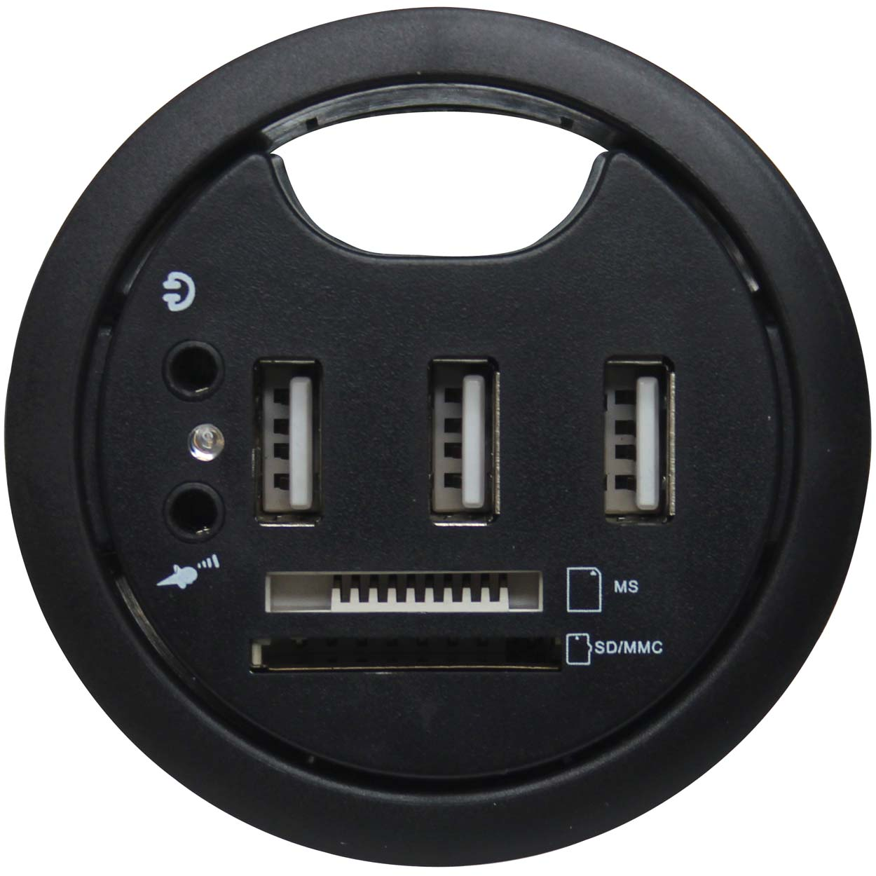 Usb Desk Grommet With 3 2 0 Multi Card Reader And Headphone